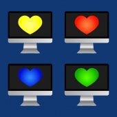 Vector set icons with heart  — Stock Vector