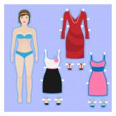 Cute dress up paper doll Body template — Stock Vector