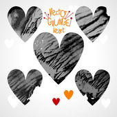 Set of grunge hearts — Stock Vector
