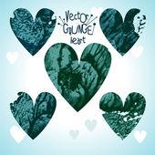 Conjunto de corações de grunge — Vetorial Stock