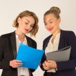 Two young women discussing documents — Stock Photo #52832861