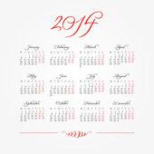 Vintage calligraphy 2014 calendar. — Stock Vector