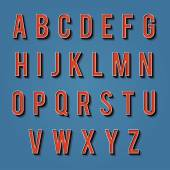 Vintage alphabet. Retro type font. 3d letters. — Wektor stockowy