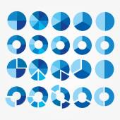 Set of blue and white circle diagram for your design — Stock Vector