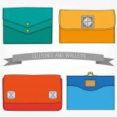 Set of accessorize. Wallets and clutch different outline. — Stock Vector