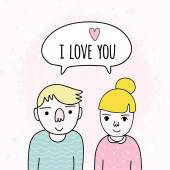 Cute cartoon couple in love. — Stock vektor