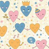 可爱浪漫的格局,用爱的心. — 图库矢量图片