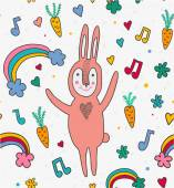 Cartoon seamless pattern with bunny rabbit note rainbow and hearts — Stock Vector
