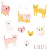 Set of cute cartoon cats. — Stock Vector