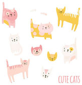 Set of cute cartoon cats. — Stock Vector