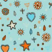 ładny wzór kwiaty serca i gwiazdy — Wektor stockowy