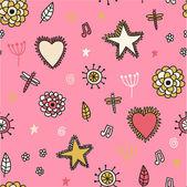 Roztomilý vzor bezešvé s květy srdce a hvězdy — Stock vektor