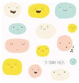 Funny happy smiley faces. — Stock Vector