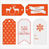 Set of Christmas and New Year's gift tags. — Stock Vector