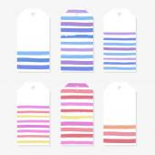 Cute gift tags with multicolor lines. — Stock Vector