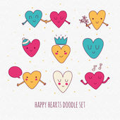 Cute set of doodle hearts. — Stock vektor