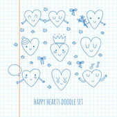 Cute set of doodle hearts. — Vector de stock