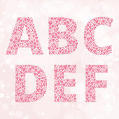 Abc set made from hearts — Stock Vector