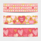Cute banners with hearts in pink color — Stock Vector