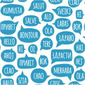 Seamless pattern with speech bubbles with the word hello in different languages — Stock Vector