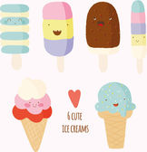 Set of cute hand drawn ice creams. — Stock Vector