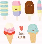 Set of cute hand drawn ice creams. — Vettoriale Stock