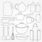 Con set of kitchen tools. — Stock Vector