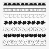 Collection of leaf borders for your design. — Stock vektor