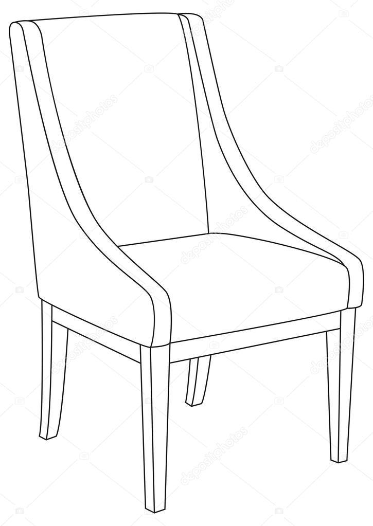 Line Drawing Chair : Classic chair outline contour drawing — stock vector
