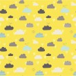 Cute seamless pattern with clouds, hearts and birds — Stock Vector #51972359