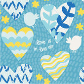 Romantic seamless pattern with hand drawn hearts and birds — Stock Vector