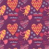 大きな心と花で抽象的なシームレス パターン — ストックベクタ
