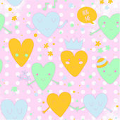 Cute romantic pattern with hearts in love. — Stock Vector