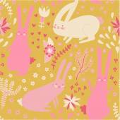 Cute seamless pattern with bunnies and plants. Floral background with rabbits — Stock Vector