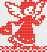 Pixel angel with heart. — ストックベクタ