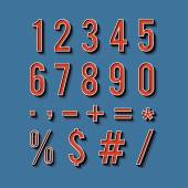 Vintage typography. Set of retro numbers and symbols. — Stock Vector