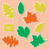 Set of leaf stickers. — Stockvector