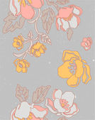 Elegant floral seamless pattern in grey and yellow. — Stock Vector