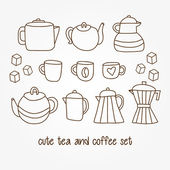 Hand drawn tea and coffee pots, cups, mugs — Stock Vector