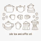 Hand drawn tea and coffee pots, cups, mugs — Stockvector