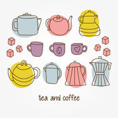 Different tea and coffee cups, pots background — Stock Vector