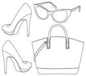 Set of female accessorize — Stock Vector