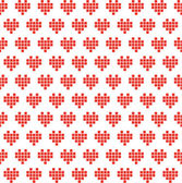 Pixel hearts seamless pattern. — Stock Vector