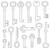 Set of vintage keys — Stockvektor
