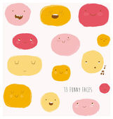 Funny happy smiley faces. — Vetorial Stock