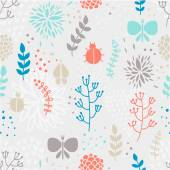 Pattern with flowers and insects. — Stock Vector