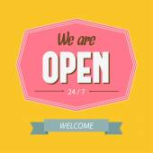 """Typography sign """"We are open"""". — 图库矢量图片"""
