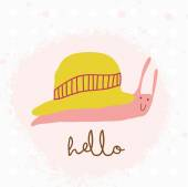 Snail with hat and hello — Stock Vector