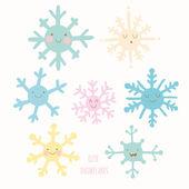 Şirin snowflakes desen — Stok Vektör