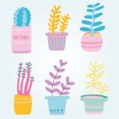 Set of cute house plants in pots — Stock Vector